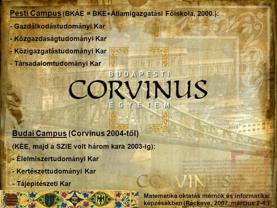 Pesti Campus (BKÁE = BKE+Államigazgatási Főiskola, 2000.):