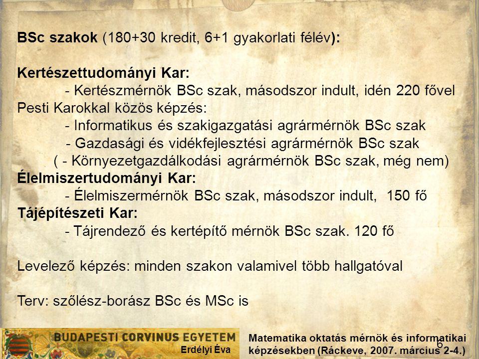 BSc szakok (180+30 kredit, 6+1 gyakorlati félév):