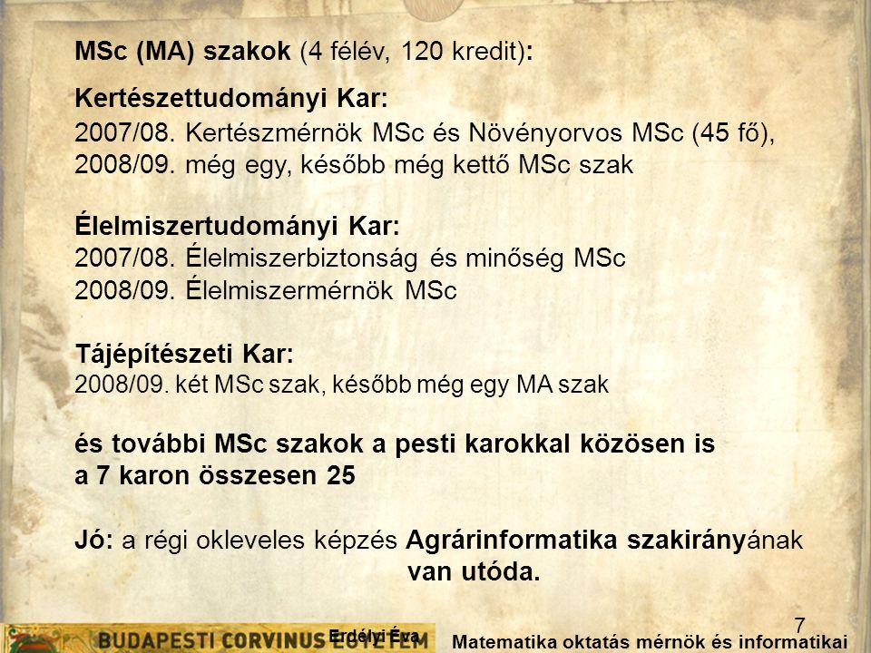 MSc (MA) szakok (4 félév, 120 kredit): Kertészettudományi Kar: