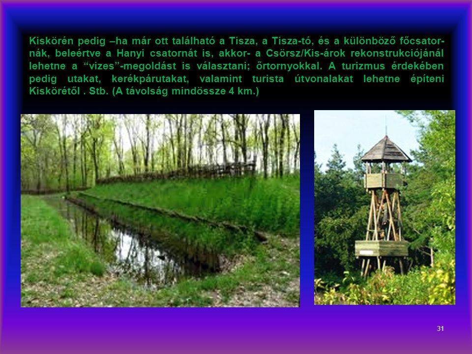 Kiskörén pedig –ha már ott található a Tisza, a Tisza-tó, és a különböző főcsator-nák, beleértve a Hanyi csatornát is, akkor- a Csörsz/Kis-árok rekonstrukciójánál lehetne a vizes -megoldást is választani; őrtornyokkal.