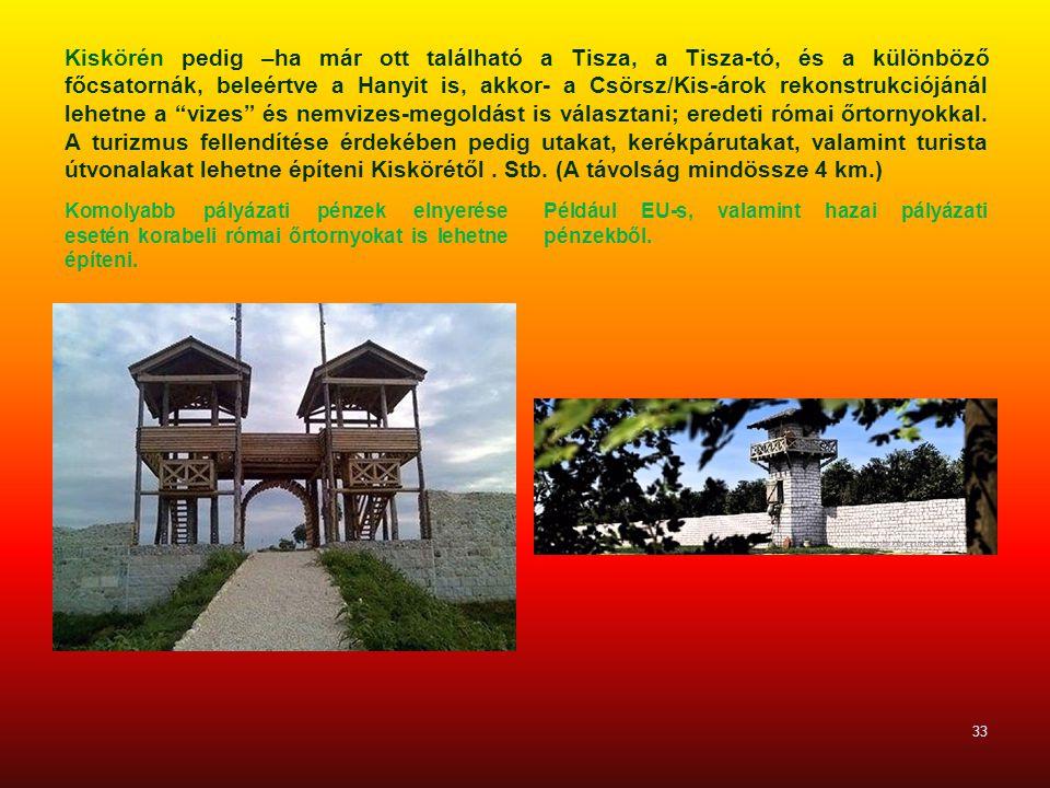Kiskörén pedig –ha már ott található a Tisza, a Tisza-tó, és a különböző főcsatornák, beleértve a Hanyit is, akkor- a Csörsz/Kis-árok rekonstrukciójánál lehetne a vizes és nemvizes-megoldást is választani; eredeti római őrtornyokkal. A turizmus fellendítése érdekében pedig utakat, kerékpárutakat, valamint turista útvonalakat lehetne építeni Kiskörétől . Stb. (A távolság mindössze 4 km.)