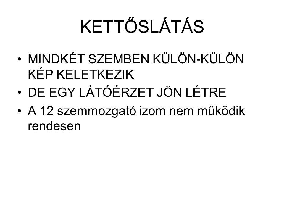 KETTŐSLÁTÁS MINDKÉT SZEMBEN KÜLÖN-KÜLÖN KÉP KELETKEZIK