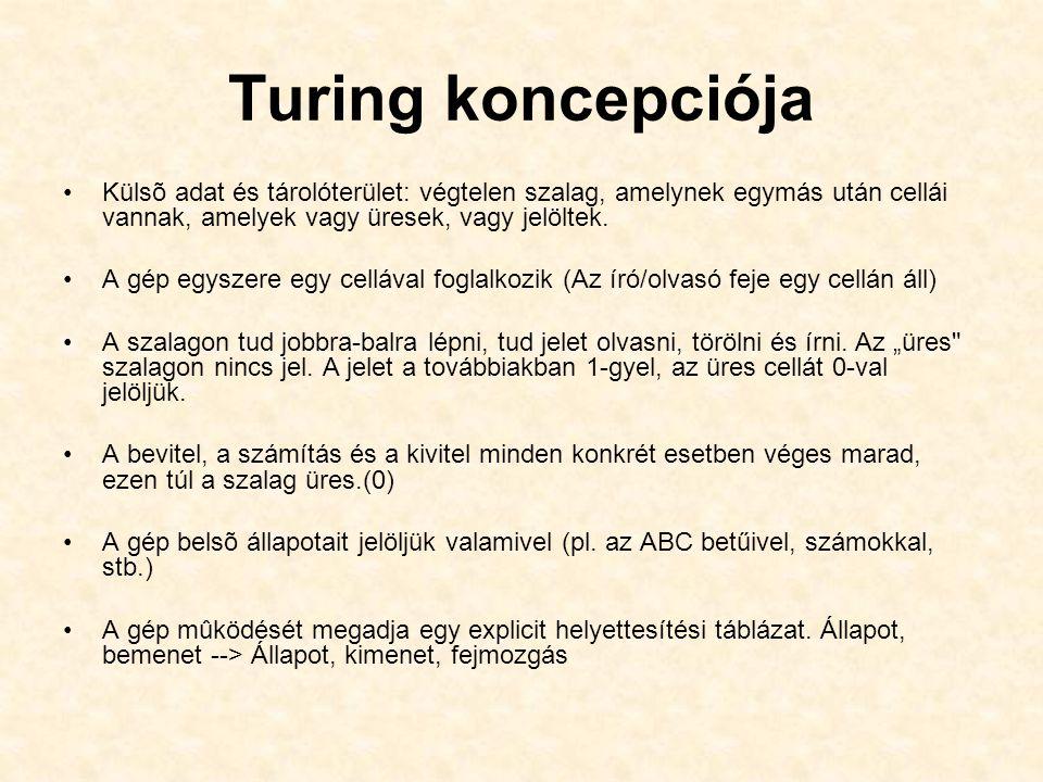 Turing koncepciója Külsõ adat és tárolóterület: végtelen szalag, amelynek egymás után cellái vannak, amelyek vagy üresek, vagy jelöltek.