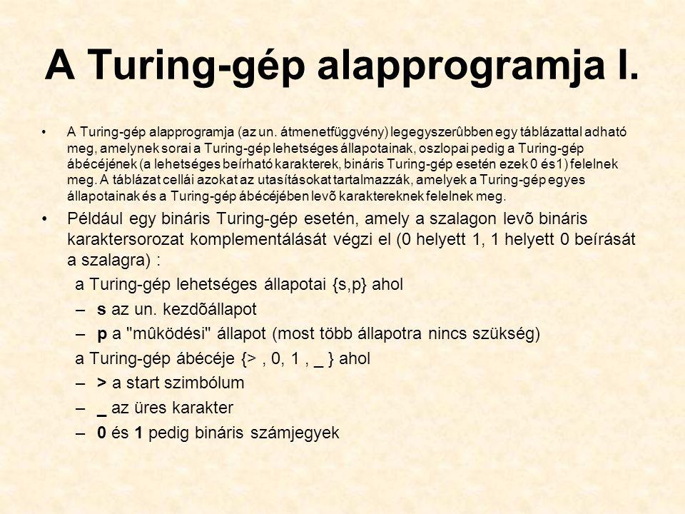 A Turing-gép alapprogramja I.