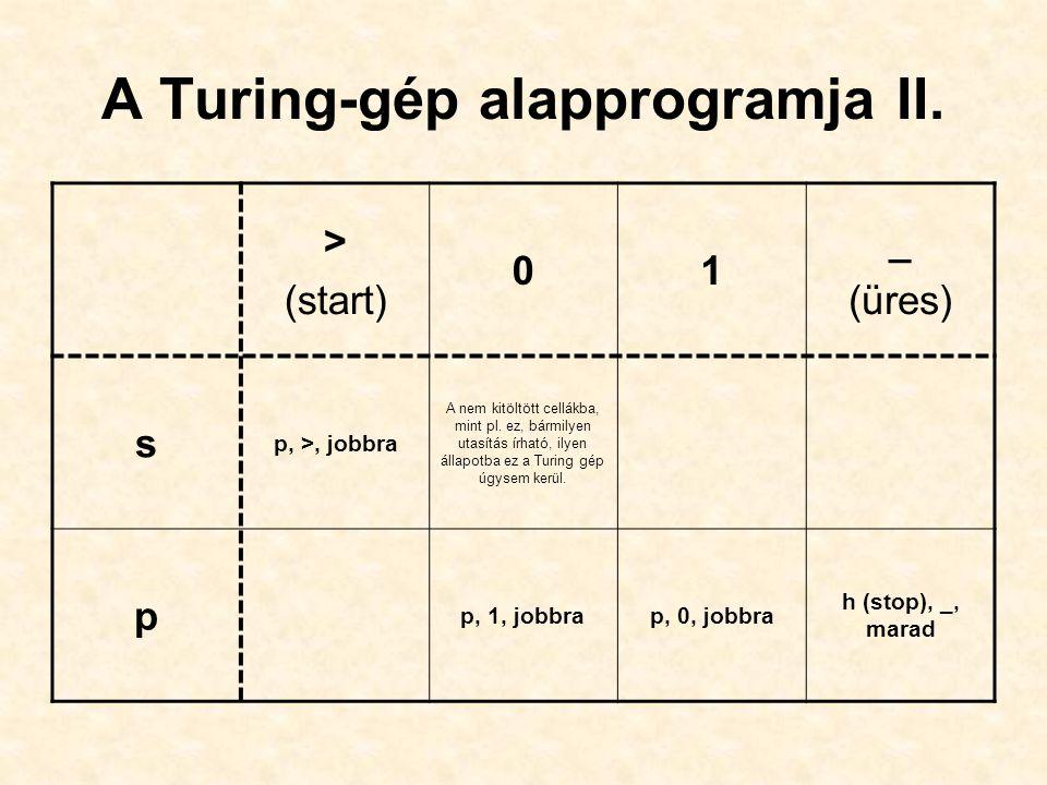 A Turing-gép alapprogramja II.