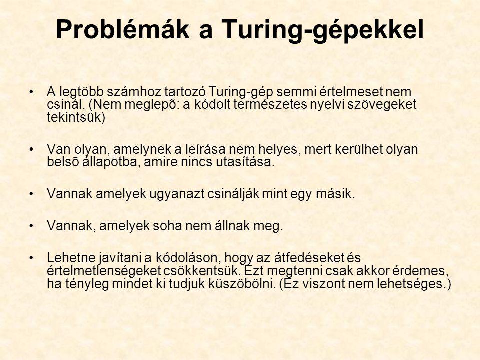 Problémák a Turing-gépekkel