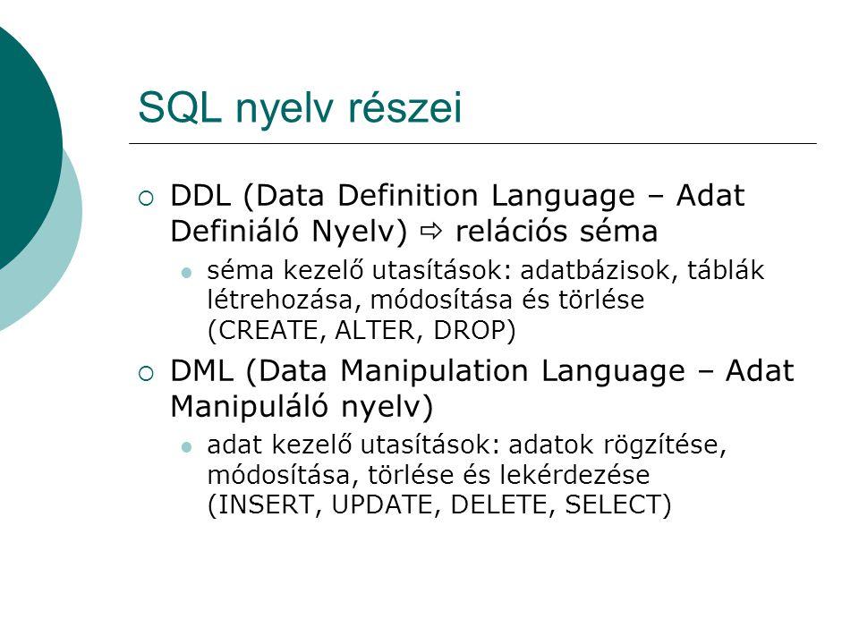 SQL nyelv részei DDL (Data Definition Language – Adat Definiáló Nyelv)  relációs séma.