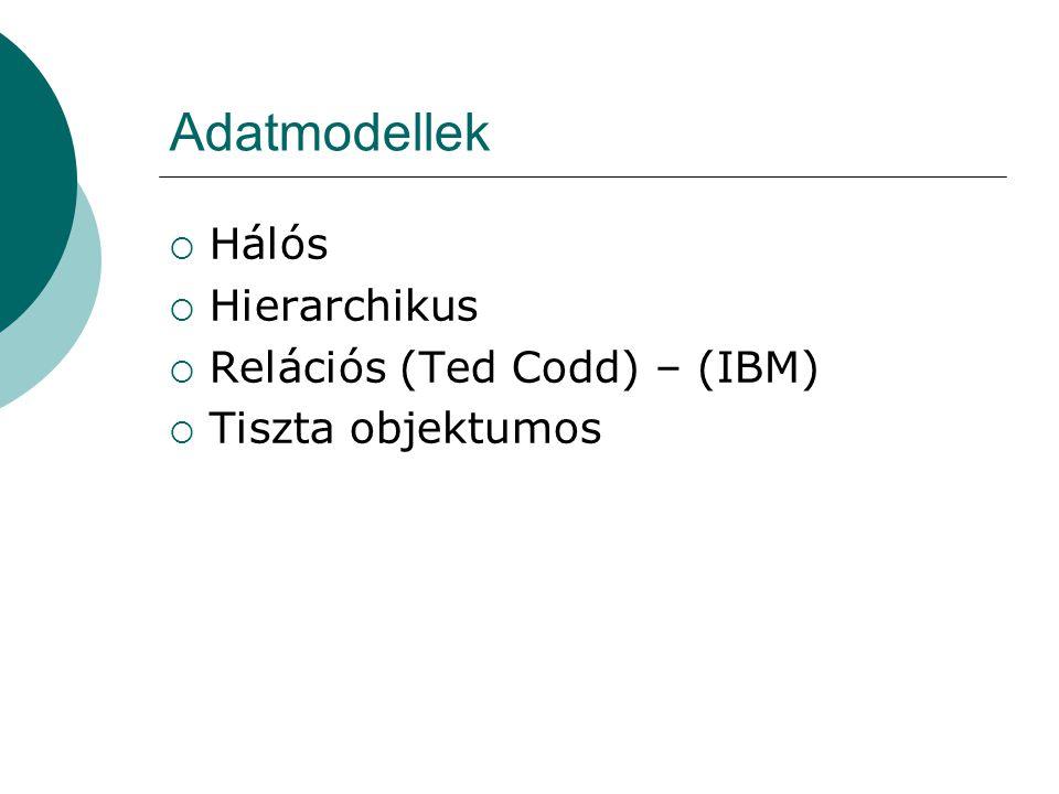 Adatmodellek Hálós Hierarchikus Relációs (Ted Codd) – (IBM)