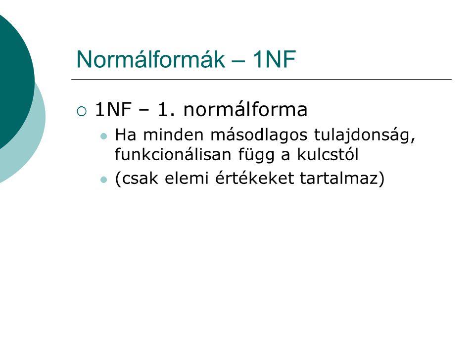 Normálformák – 1NF 1NF – 1. normálforma