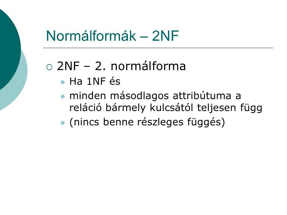 Normálformák – 2NF 2NF – 2. normálforma Ha 1NF és