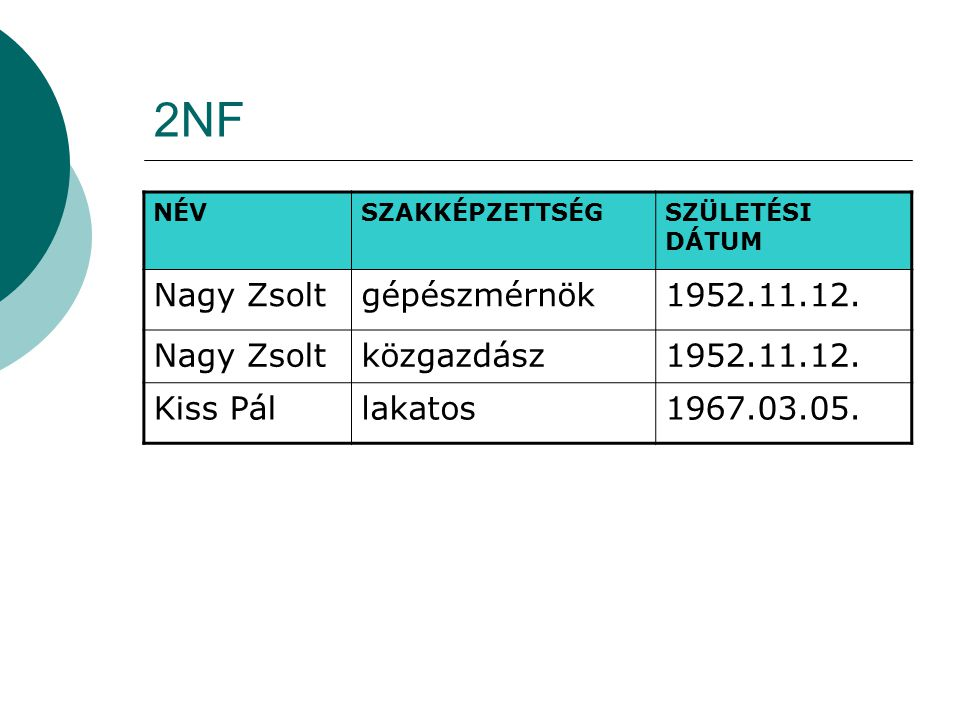 2NF Nagy Zsolt gépészmérnök 1952.11.12. közgazdász Kiss Pál lakatos