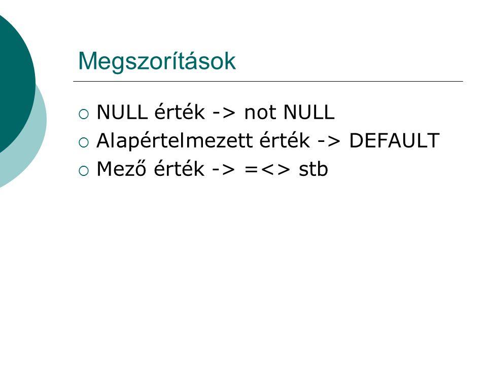 Megszorítások NULL érték -> not NULL
