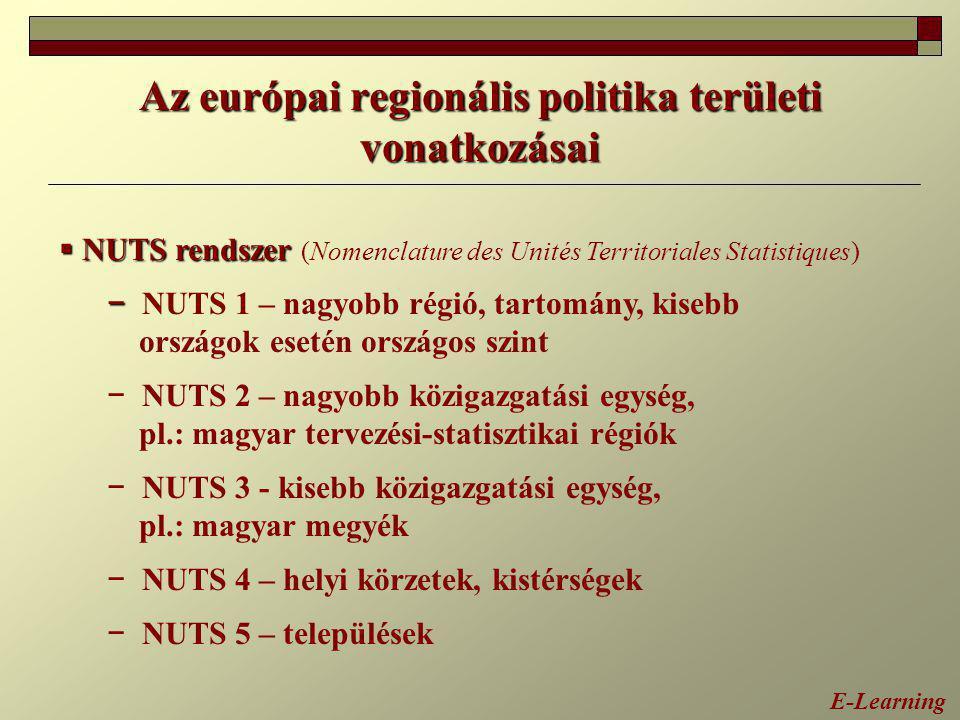 Az európai regionális politika területi vonatkozásai