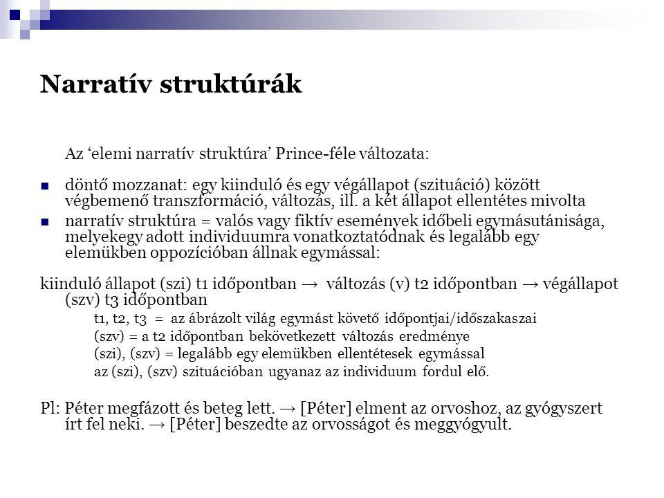 Narratív struktúrák Az 'elemi narratív struktúra' Prince-féle változata: