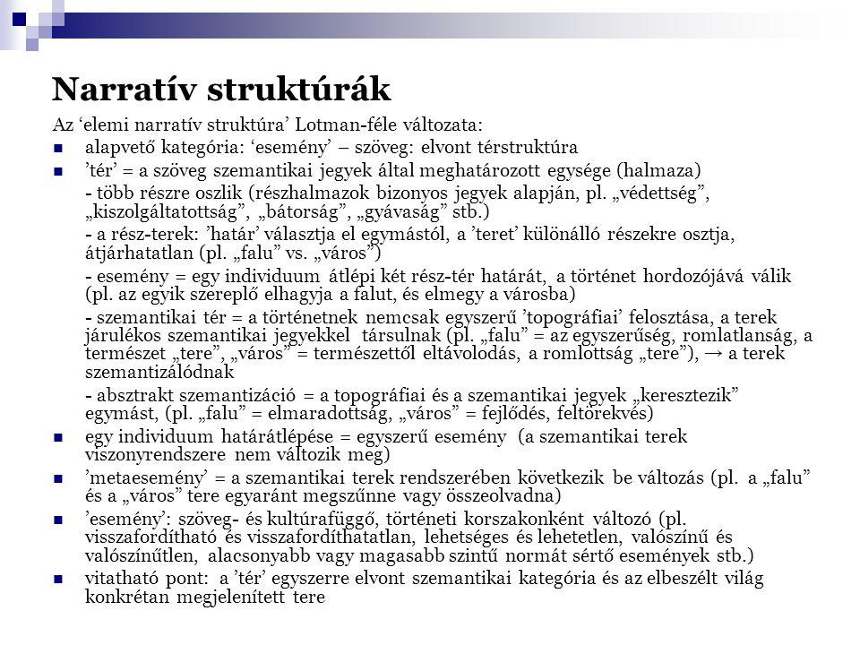 Narratív struktúrák Az 'elemi narratív struktúra' Lotman-féle változata: alapvető kategória: 'esemény' – szöveg: elvont térstruktúra.