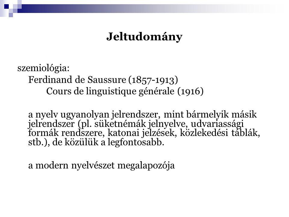 Jeltudomány szemiológia: Ferdinand de Saussure (1857-1913)
