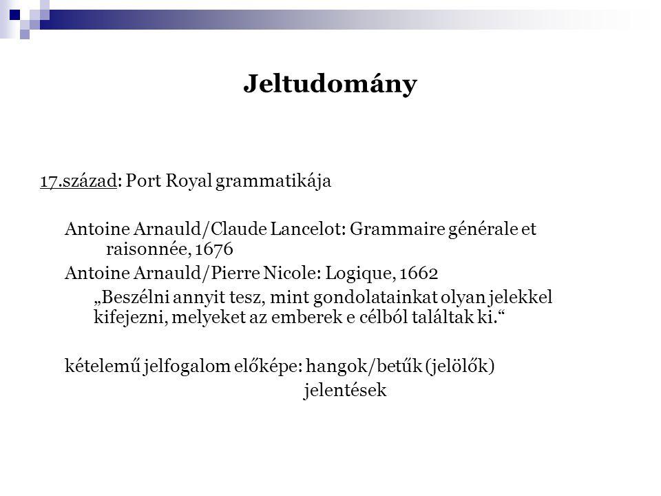 Jeltudomány 17.század: Port Royal grammatikája