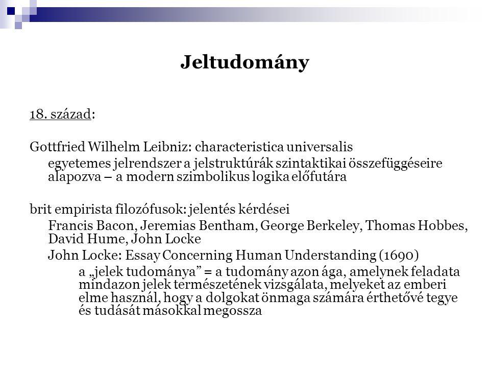 Jeltudomány 18. század: Gottfried Wilhelm Leibniz: characteristica universalis.