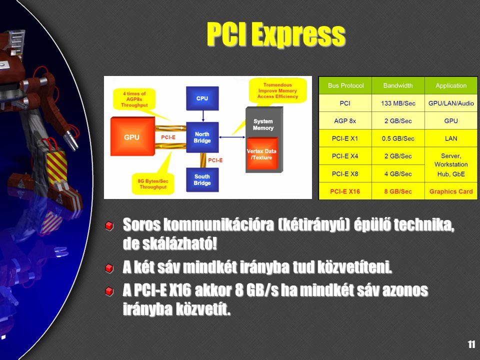 PCI Express Soros kommunikációra (kétirányú) épülő technika, de skálázható! A két sáv mindkét irányba tud közvetíteni.