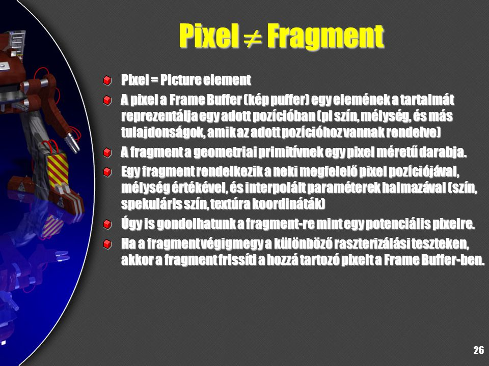 Pixel  Fragment Pixel = Picture element