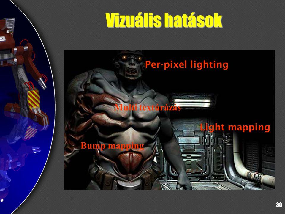 Vizuális hatások Per-pixel lighting Multi textúrázás Light mapping