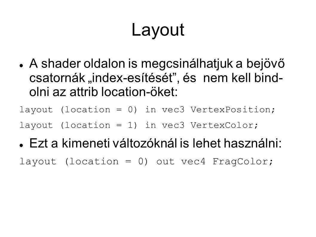 """Layout A shader oldalon is megcsinálhatjuk a bejövő csatornák """"index-esítését , és nem kell bind- olni az attrib location-öket:"""
