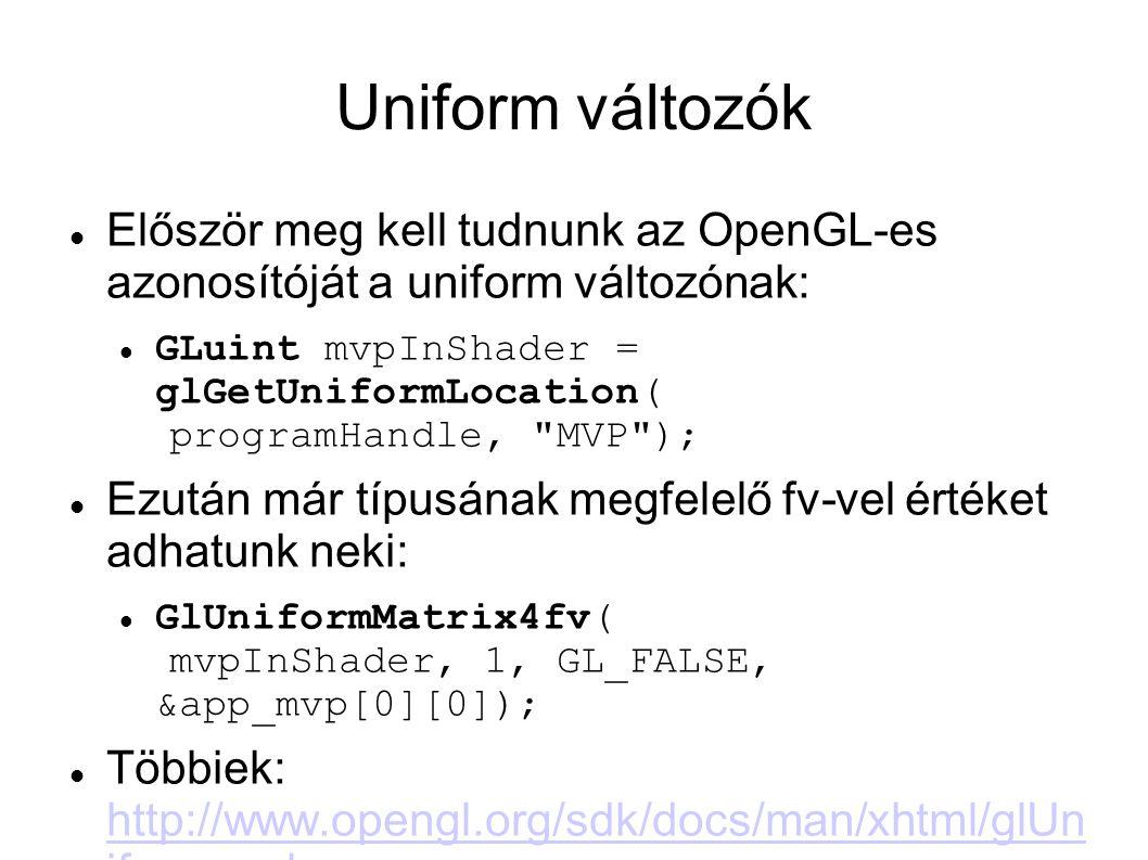 Uniform változók Először meg kell tudnunk az OpenGL-es azonosítóját a uniform változónak: