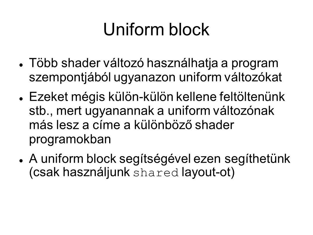 Uniform block Több shader változó használhatja a program szempontjából ugyanazon uniform változókat.