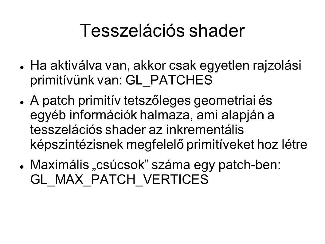 Tesszelációs shader Ha aktiválva van, akkor csak egyetlen rajzolási primitívünk van: GL_PATCHES.