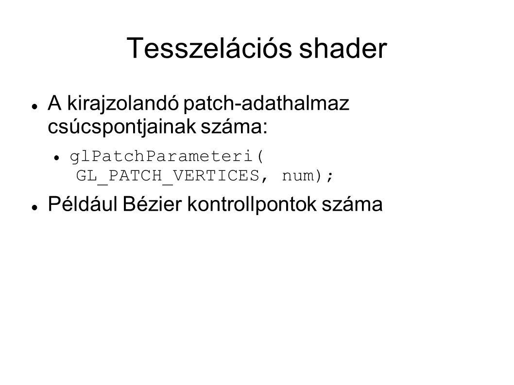 Tesszelációs shader A kirajzolandó patch-adathalmaz csúcspontjainak száma: glPatchParameteri( GL_PATCH_VERTICES, num);