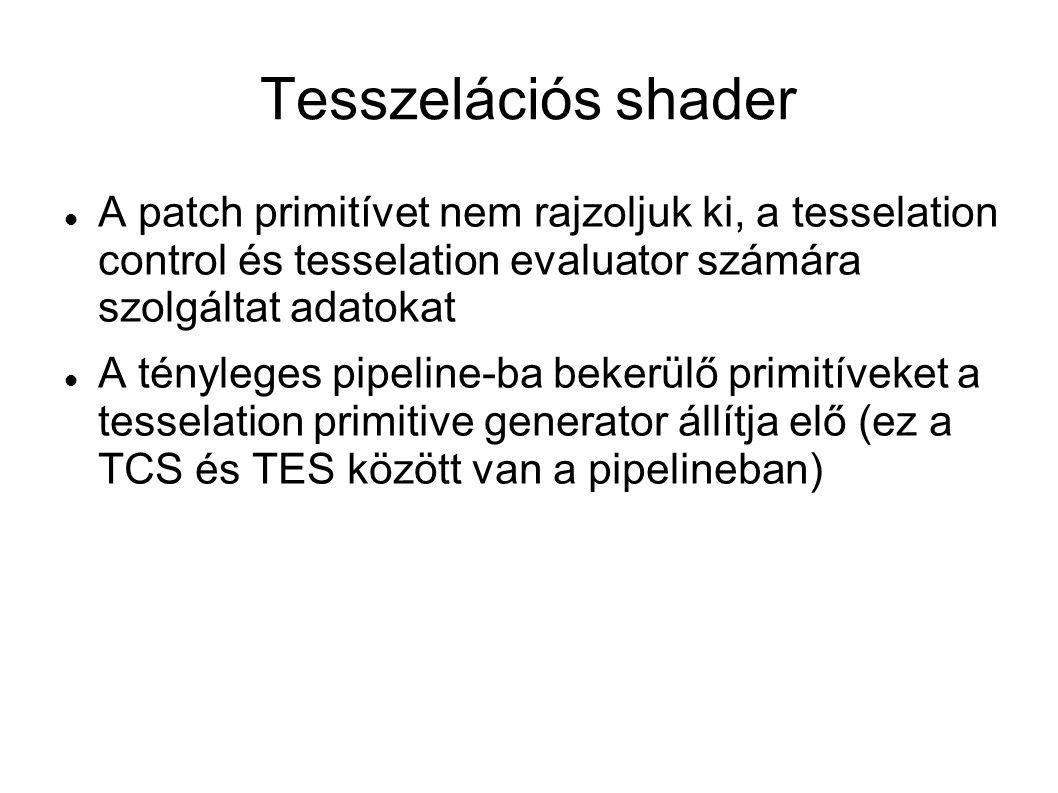 Tesszelációs shader A patch primitívet nem rajzoljuk ki, a tesselation control és tesselation evaluator számára szolgáltat adatokat.