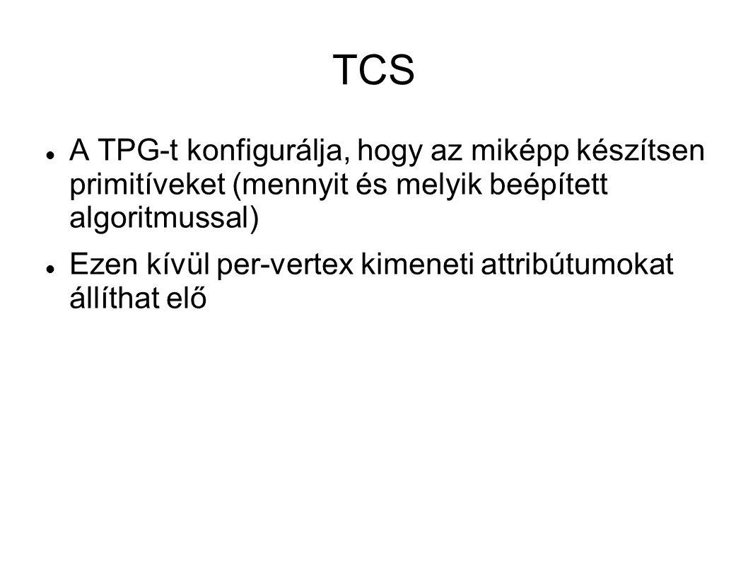 TCS A TPG-t konfigurálja, hogy az miképp készítsen primitíveket (mennyit és melyik beépített algoritmussal)