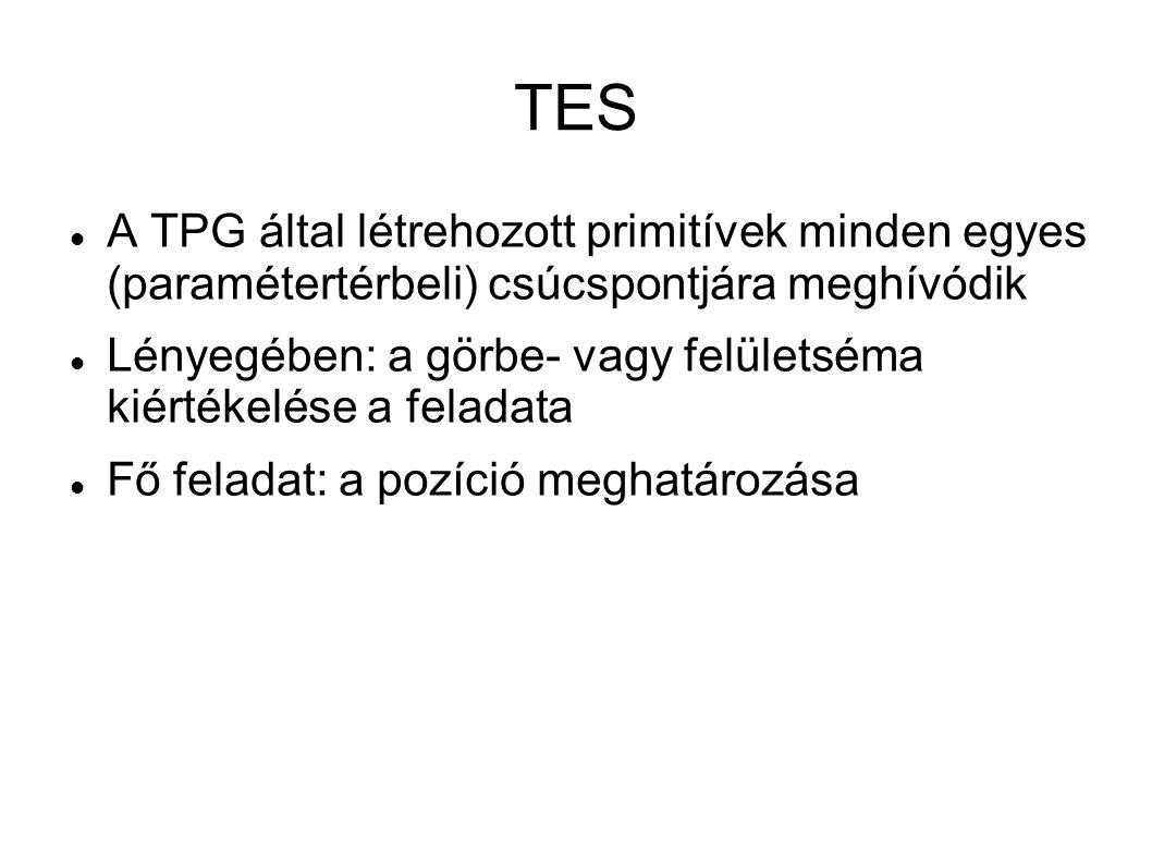 TES A TPG által létrehozott primitívek minden egyes (paramétertérbeli) csúcspontjára meghívódik.