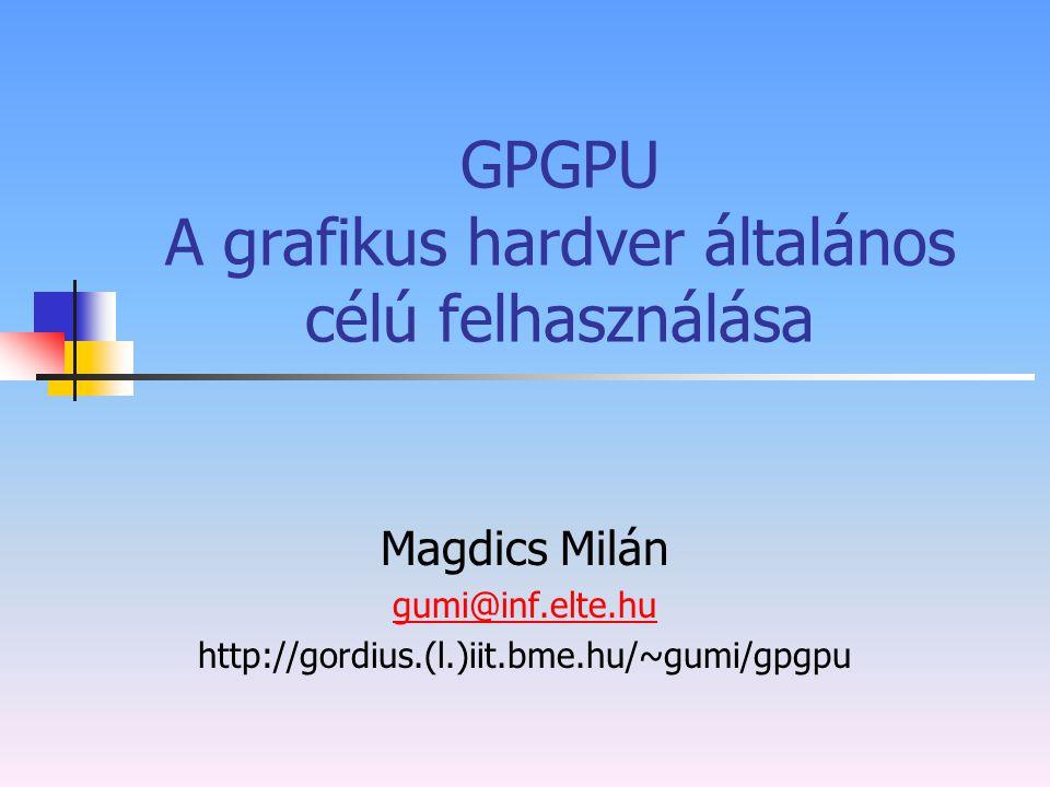 GPGPU A grafikus hardver általános célú felhasználása