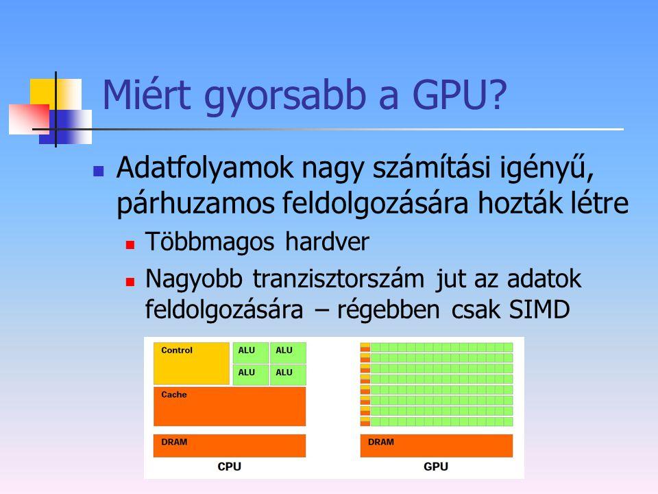 Miért gyorsabb a GPU Adatfolyamok nagy számítási igényű, párhuzamos feldolgozására hozták létre. Többmagos hardver.