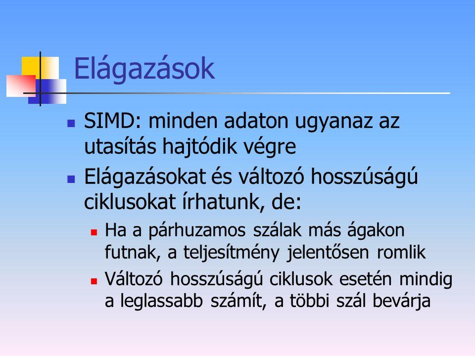 Elágazások SIMD: minden adaton ugyanaz az utasítás hajtódik végre