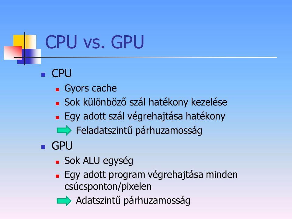 CPU vs. GPU CPU GPU Gyors cache Sok különböző szál hatékony kezelése