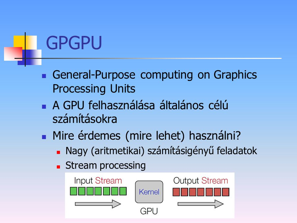 GPGPU General-Purpose computing on Graphics Processing Units