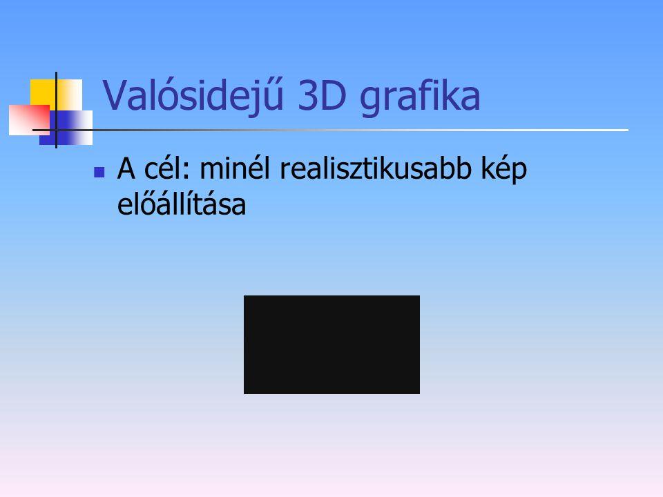 Valósidejű 3D grafika A cél: minél realisztikusabb kép előállítása