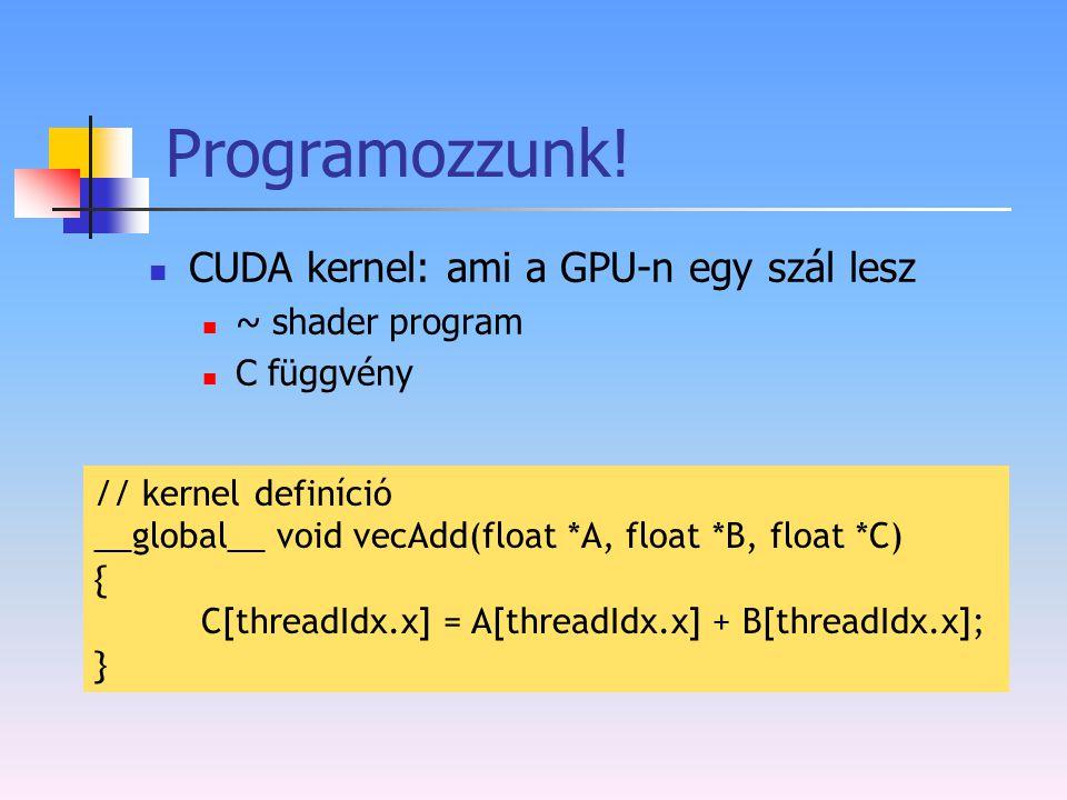 Programozzunk! CUDA kernel: ami a GPU-n egy szál lesz ~ shader program