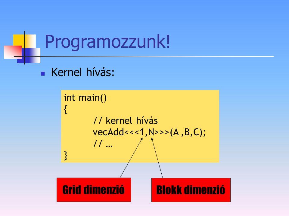 Programozzunk! Kernel hívás: Grid dimenzió Blokk dimenzió int main() {