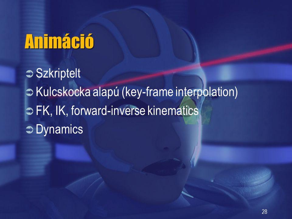 Animáció Szkriptelt Kulcskocka alapú (key-frame interpolation)