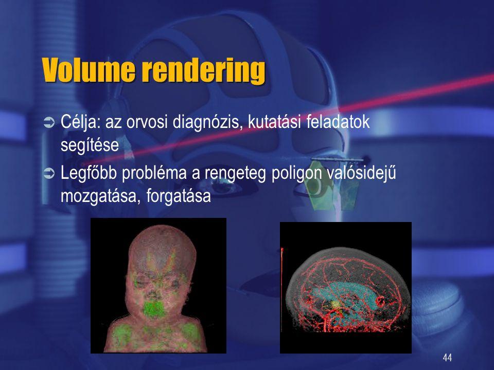 Volume rendering Célja: az orvosi diagnózis, kutatási feladatok segítése.