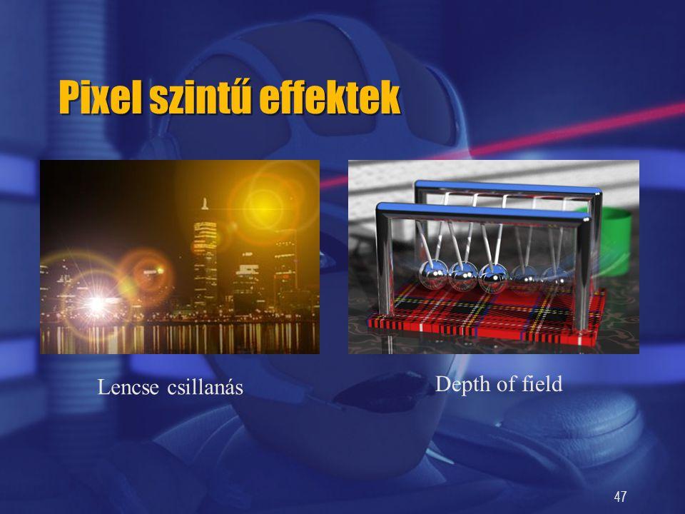 Pixel szintű effektek Lencse csillanás Depth of field