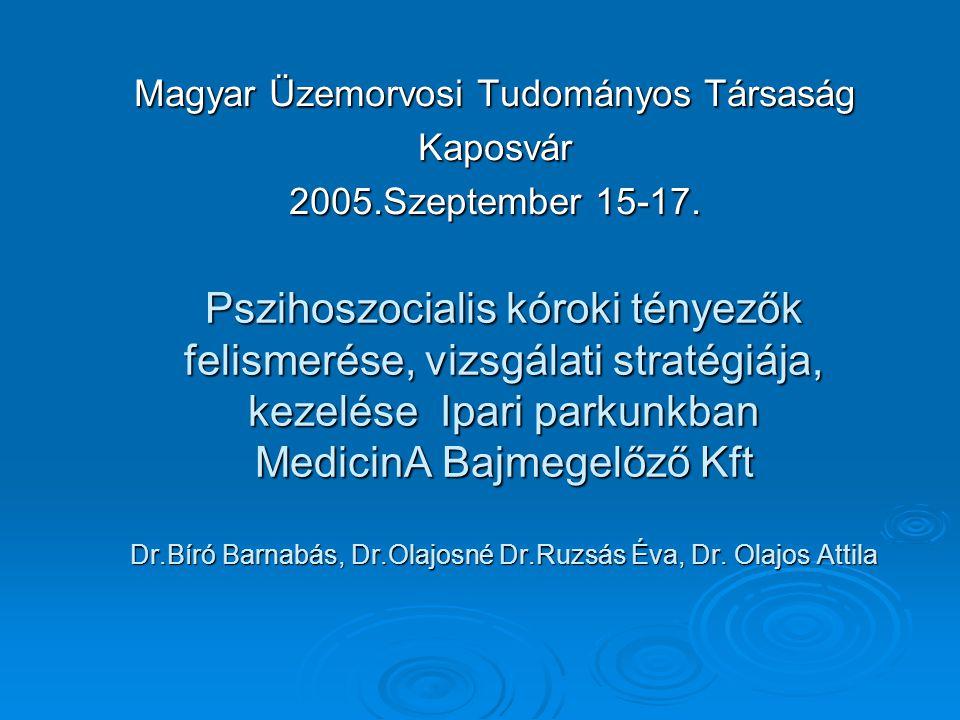 Magyar Üzemorvosi Tudományos Társaság Kaposvár 2005.Szeptember 15-17.