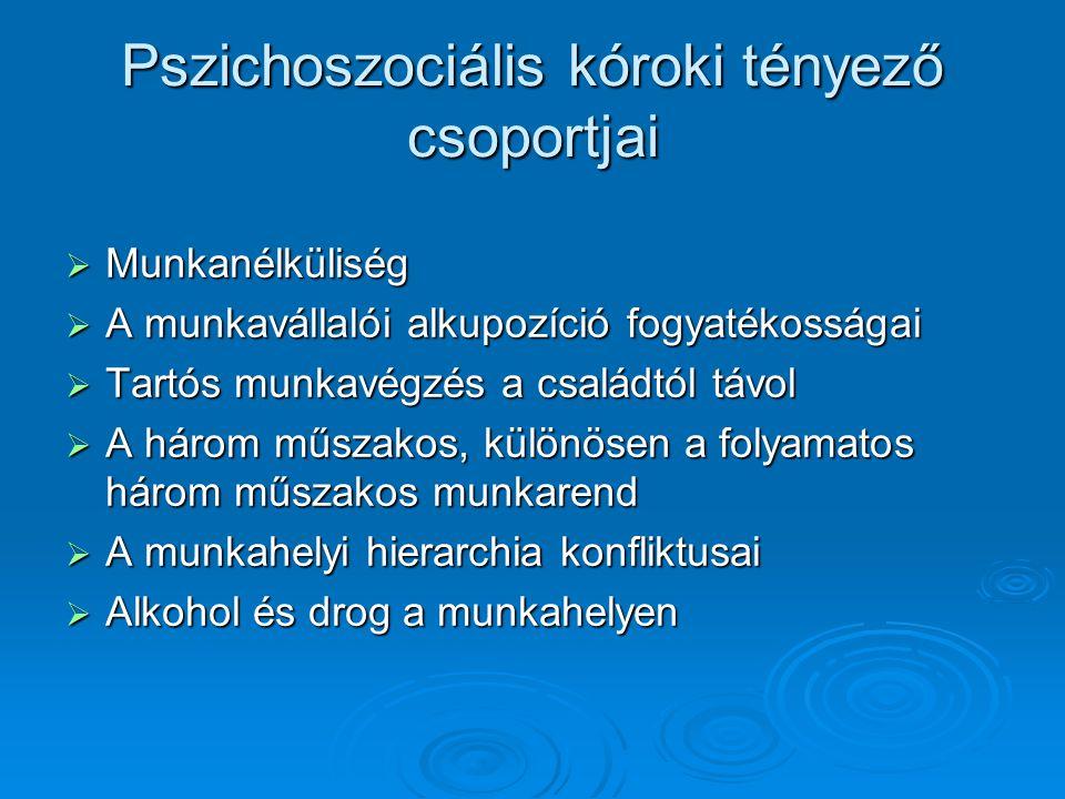 Pszichoszociális kóroki tényező csoportjai
