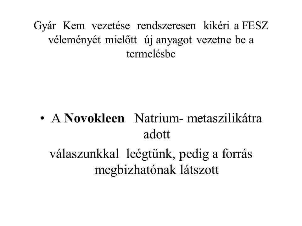 A Novokleen Natrium- metaszilikátra adott