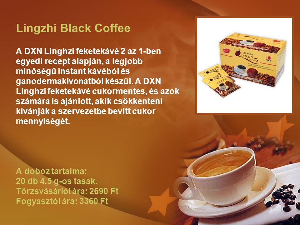 Lingzhi Black Coffee A DXN Linghzi feketekávé 2 az 1-ben egyedi recept alapján, a legjobb minőségű instant kávéból és ganodermakivonatból készül.