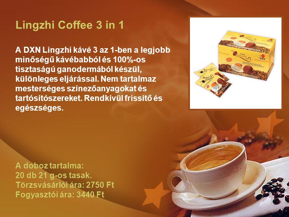 Lingzhi Coffee 3 in 1 A DXN Lingzhi kávé 3 az 1-ben a legjobb minőségű kávébabból és 100%-os tisztaságú ganodermából készül, különleges eljárással.