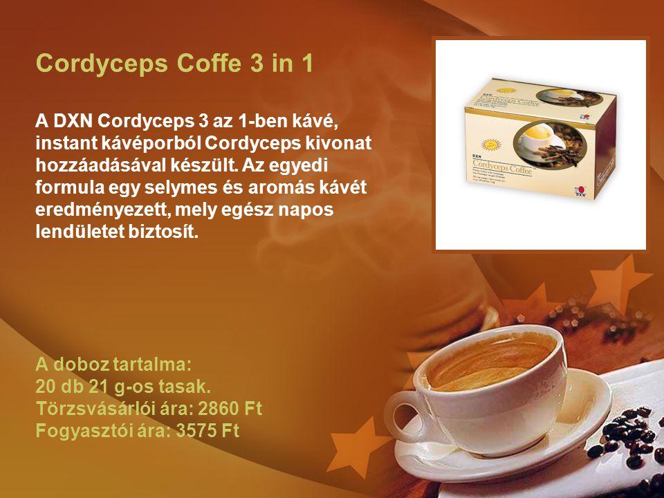 Cordyceps Coffe 3 in 1 A DXN Cordyceps 3 az 1-ben kávé, instant kávéporból Cordyceps kivonat hozzáadásával készült.